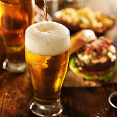 Burger with beer barbequed food