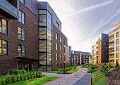 Modern european complex of residential buildings