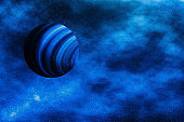 Stars, planet and galaxy in cosmos universe, space and time travel science background