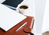 Business office desk, work productivity concept