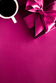 Coffee cup and luxury gift box flatlay background