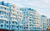 EU Apartment residential modern house buildings exterior outdoor facilities concept