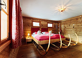 Interior of bedroom Modern design of pink bed