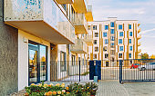 EU Modern residential apartment house building and entrance gate