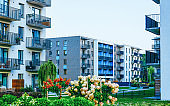 EU Modern residential apartment house complex block architecture outdoor