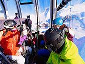 People ski lift at Hintertux Glacier ski resort Zillertal