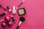 Make-up and cosmetics product set for beauty brand Christmas sale promotion, luxury pink flatlay background as holiday design