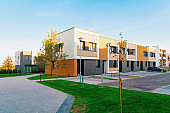 Apartment residential town houses architecture with outdoor facilities