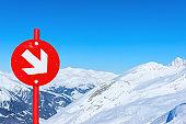 Red direction sign at Hintertux Glacier ski resort