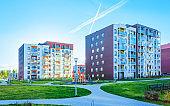 EU Apartment house home building complex concept playground