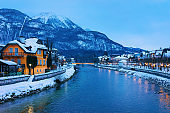 Spa and ski resort Bad Ischl town of Austria in evening