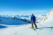 Skier Man at Hintertux Glacier ski resort Zillertal Austria