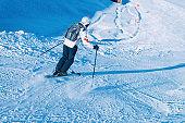 Skier Man in Hintertux Glacier ski resort Zillertal Austria