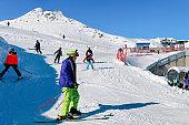 Skiers in Hintertux Glacier ski resort Zillertal Austria