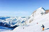 Skier Man in Hintertux Glacier ski resort in Zillertal Austria
