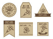 Craft labels with gentiana stock illustration