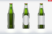 Craft beer bottle set mockup
