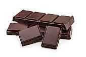 Chocolate bar pieces isolated