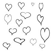 Hearts icon collection. Collection of heart illustrations, love symbol icons set. Hand drawn.