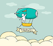 Sketch of little people fly on aerostat.