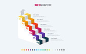 Infographic template. 6 stairs design with beautiful colors. Vector timeline elements for presentations. Warm palette.
