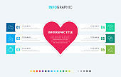 Colorful diagram, infographic template. Love infographic template with 6 steps. Heart workflow process for valentines. Vector design. Cold palette.