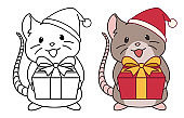 Cute rat wearing Santa hat gives a present. Contour and colored pictures. Hand drawn vector illustration. Can be used for sticker, cards, design, children games, tattoo, coloring book. Isolated.