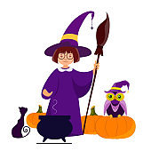 witch in a magic hat with pumpkins and an owl