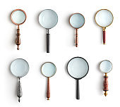 Collection of magnifying glass isolated on white background