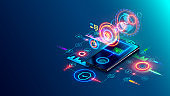 User two-factor authentication technology via mobile phone. Identification human in mobile bank for internet payments or access confidential information. Fintech isometric concept. Digital safety.