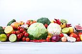 Different organic vegetables.