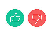 Thumbs Up and Thumbs Down line icons.