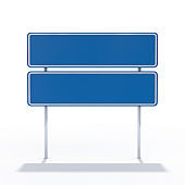 Blank blue road sign or Empty traffic signs. 3D