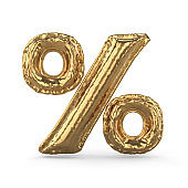 Golden percent sign made of inflatable balloon isolated. 3D