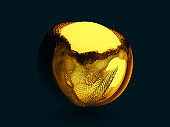 Abstract background with sphere and glowing core. 3D
