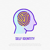 Fingerprint in human head thin line icon. Symbol of self identity. Mental health. Modern vector illustration.