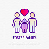 Foster family thin line icon: silhouettes of mother, father and child with heart above. Modern vector illustration, logo for adoption company.