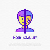 Bipolar disorder, mood instability thin line icon. One half of face is happy, other is crying. Modern vector illustration.