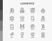 Logistics thin line icons set: forklift loader, conveyor belt, container, storage, cardboard box, return, cargo delivery, mover, worldwide shipping, keep dry, fragile, this side up. Vector illustration.