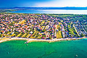 Adriatic sea and Vransko lake aerial view, Town of Pakostane, Dalmatia region of Croatia