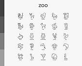 Zoo thin line icons set: lion, deer, horse, monkey, tiger, penguin, hippo, giraffe, elephant, turtle. Modern vector illustration.