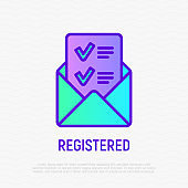 Opened envelope with letter containing check mark. Confirmation of registration. Thin line icon. Modern vector illustration.