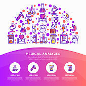 Medical analyzes concept in half circle with thin line icons: blood test, urine test, stool, ECG, mammography, sperm, DNA, ultrasound, EEG, X-ray, gastroscopy. Vector illustration for laboratory web page.