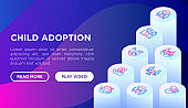 Child adoption web page template with thin line isometric icons: adoptive parents, helping hand, orphan, home care, LGBT couple with child, custody, caregivers, happy kid. Modern vector illustration.