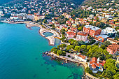 Scenic coastline of Opatija and Slatina beach aerial view