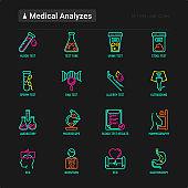 Medical analyzes thin line icons set: blood test, urine test, stool, ECG, mammography, sperm, DNA, ultrasound, EEG, X-ray, gastroscopy. Vector illustration for laboratory web page.