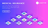 Medical insurance web page template with thin line isometric icons: policy, life insurance, psychological support, maternity program, 24/7 support, mobile app, telemedicine. Vector illustration.