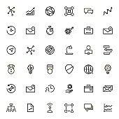 Partnership line icon set