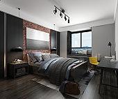 3d render modern cozy bedroom