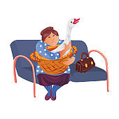 An old woman sitting in the waiting hall with her goose for visiting a doctor in vet clinic. Vector colorful illustration in cartoon style